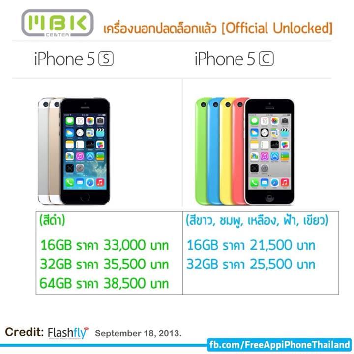iPhone5c,5sのタイでの価格