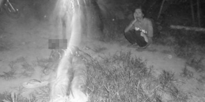 警察官が撮った死亡事故の現場写真に映しだされた人の影