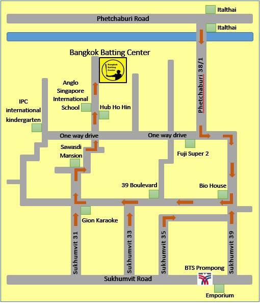 バンコクバッティングセンターまでの地図