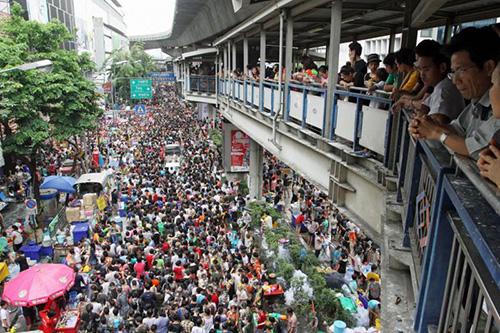 ソンクラン期間のバンコク中心部