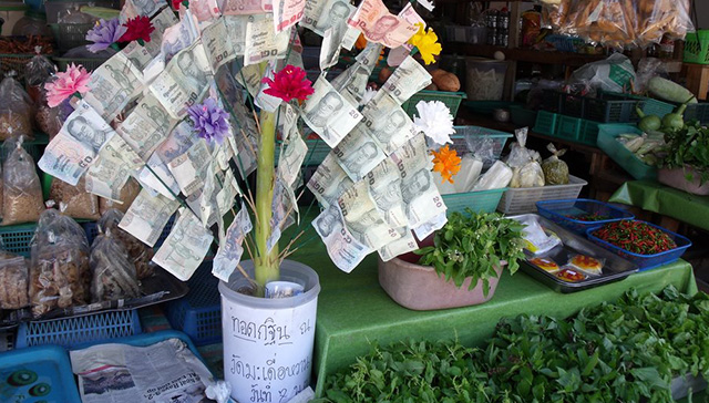 屋台で見かけるお金の木