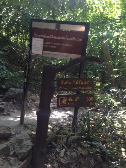 滝の名前と次の滝までの距離を示した看板