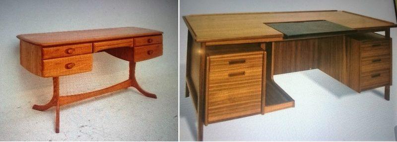左のテーブルで12,000B~ 右のデスク22,000B~使う木やサイズで値段が変わります。