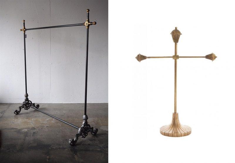 以前彼に頼んで作って貰ったアールデコ風アパレル店舗の内装品。基本木製家具が得意だがこういう金属加工もOK。