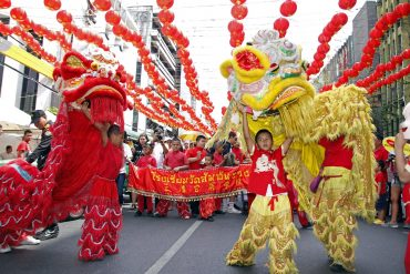 中華街でのライオンダンス