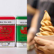 Cha Tra Mueの紅茶缶と、タイティー味のソフトクリーム