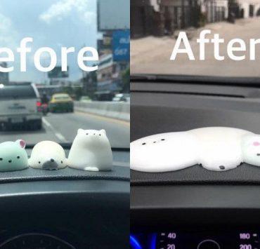 車に飾っておいたゴム製の人形が暑さで溶ける ©posttoday