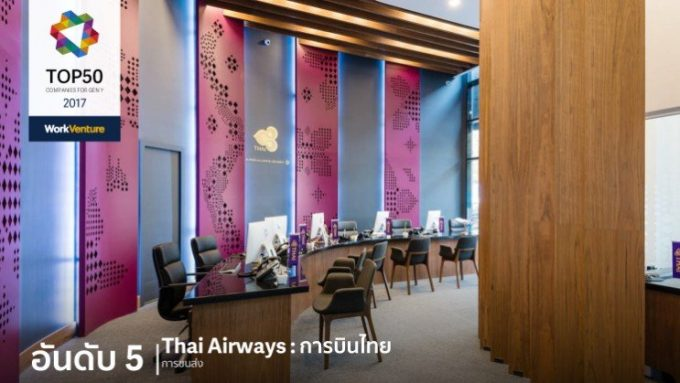 タイの若者が選ぶ「働きたい会社」5位のThai Airways ©Work Venture