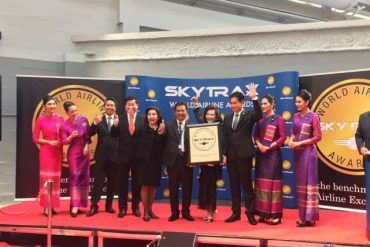 「World Airline Awards 2017」のエコノミー部門「World's Best Economy Class」で1位を獲得したタイ航空 ©Nation TV