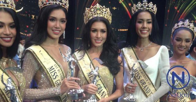 Miss Grand Thailand 2017で優勝したペーム・ペミガーさん(写真中央) @Nation TV