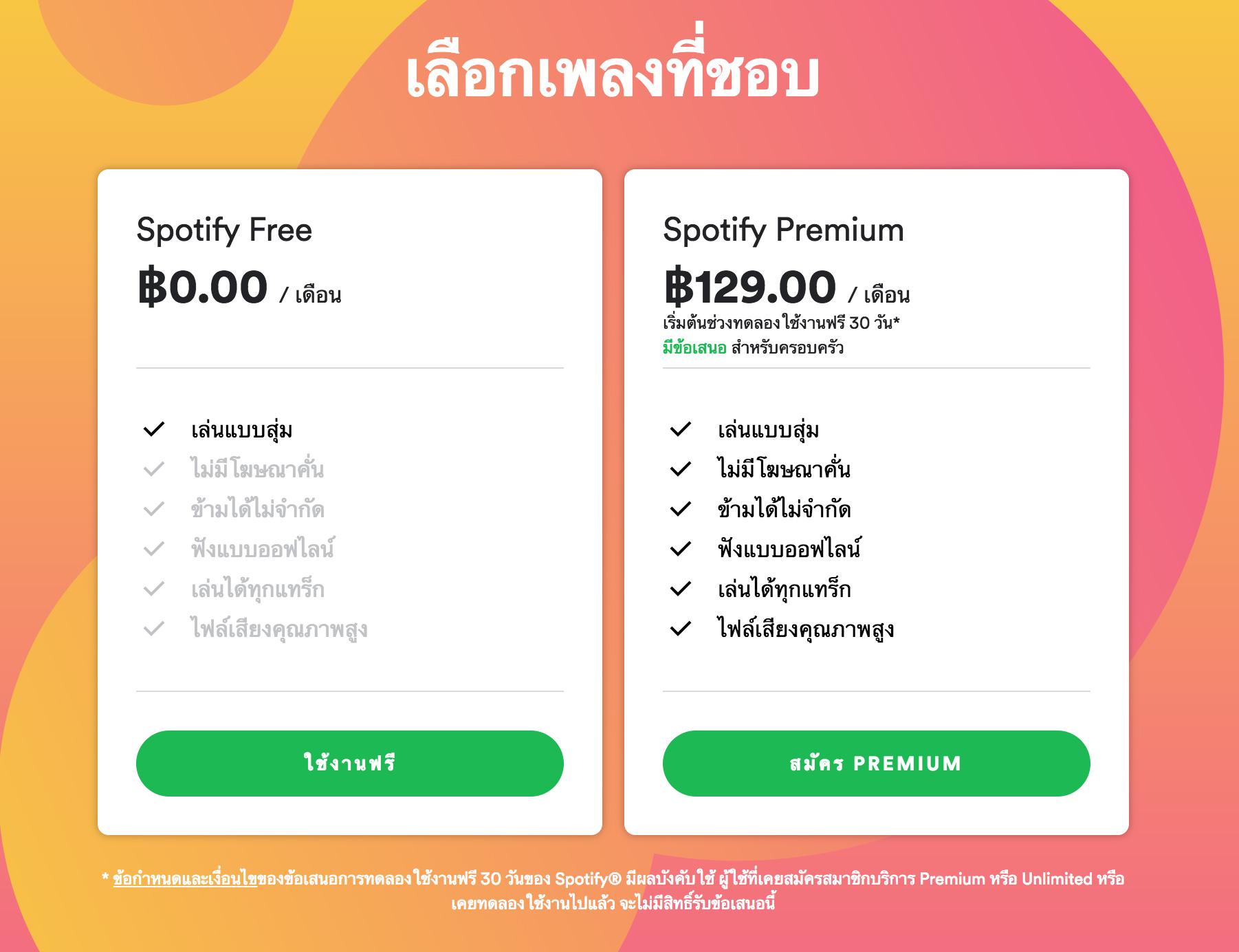 タイでのサービス料金