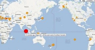 【速報】スマトラ島沖でマグニチュード8.7の大規模な地震が発生